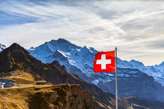 Stunning view of Jungfrau from Mannlichen station, Canton of Bern, Switzerland