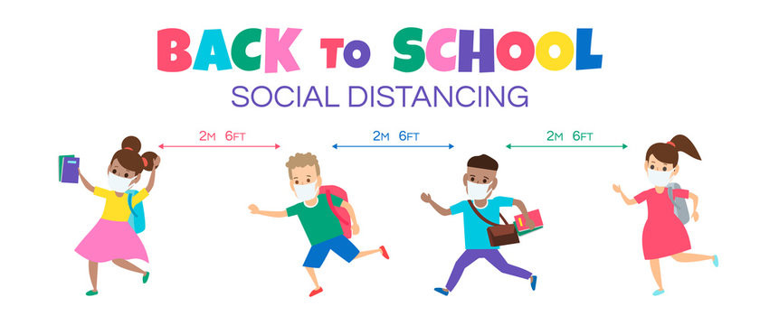 back to school social distancing children in face protective masks during coronavirus vector illustration