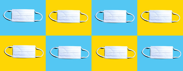 Surgical masks with epidemic influenza and Coronavirus Covid-19 concept