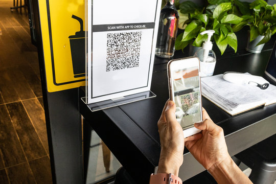Modified inactive QR Code used.  Person scanning QR code with smartphone to register details before enter outlet to comply with contact tracing rule