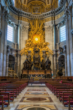 Apse with the Chair of Saint Peter by Gian Lorenzo Bernini, in Saint Peters Basilica in Rome, Italy.