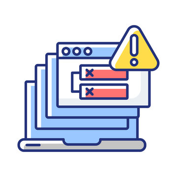 Internal server error RGB color icon. HTTP status code, 500 error warning message. Internet connection problem, website access failure. Isolated vector illustration