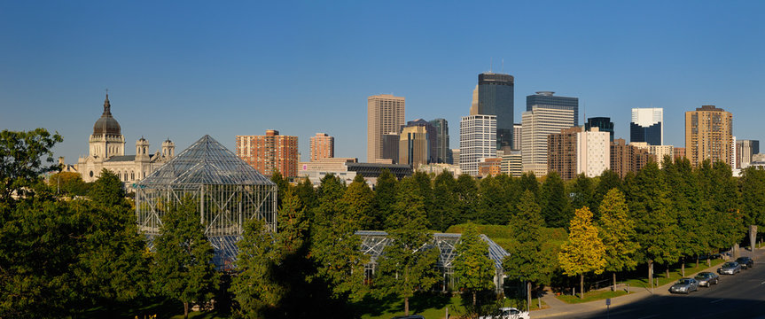 Minneapolis cityscape panorama from the Sculpture Garden Greenhouses with Cathedral and Highrise towers