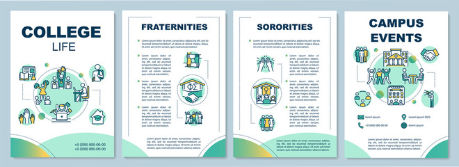 College life brochure template. Fraternities and sororities. Flyer, booklet, leaflet print, cover design with linear icons. Vector layouts for magazines, annual reports, advertising posters