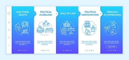 Political rights onboarding vector template. Electoral rights. Political participation. Human rights. Responsive mobile website with icons. Webpage walkthrough step screens. RGB color concept