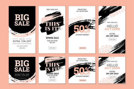 Set of editable Instagram Stories template. Vector illustration sale banners for social media.
