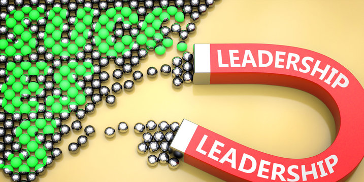 Leadership attracts success - pictured as word Leadership on a magnet to symbolize that Leadership can cause or contribute to achieving success in work and life, 3d illustration