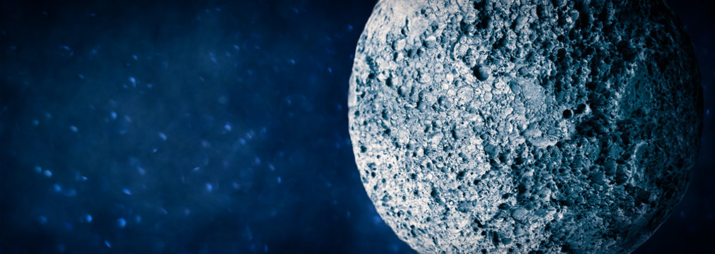 Abstract planet or meteorite surface with uneven relief. Asteroid or moon background imitation.