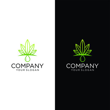Shining cannabis leaves and water drop logo design suitable for cbd