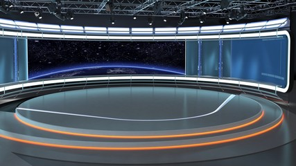 Virtual TV Studio News Set 35-4. 3d Rendering. Virtual set studio for chroma footage. wherever you want it, With a simple setup, a few square feet of space, and Virtual Set, you can transform any loca