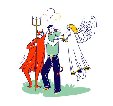 Male Character with Angel and Devil Behind of his Shoulders Whispering in Ear, Man Having Moral Dilemma Make Decision