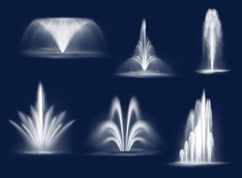 Fountains cascades, isolated vector water jets and white streams. 3d fountain of transparent aqua for parks or gardens decoration. Summer cascading liquid curve splashes and spraying realistic set