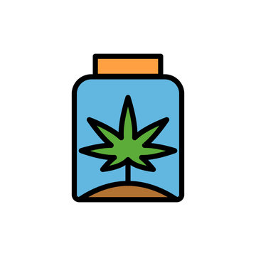 Marijuana bank soil icon. Simple color with outline vector elements of herbal drugs icons for ui and ux, website or mobile application