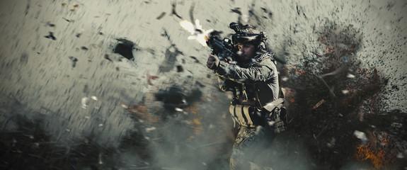 Special soldier in battlefield. war concept