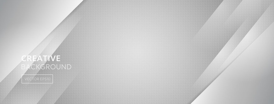 Abstract gray banner background with oblique lines and small hexagon dotted texture