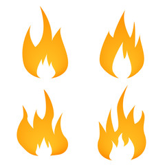 Fire flame icon set in flat style isolated sign illustration on the white