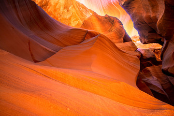 Wall Murals Orange Glow Workshop of the Natural Landscape Creator of Lower Antelope Canyon in Page Arizona with bright sandstones stacked in flaky fire waves in a narrow sand maze with caves