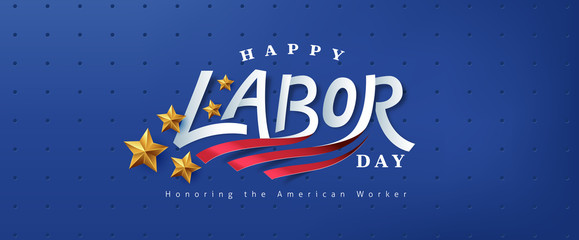 USA happy Labor day text design advertising banner template