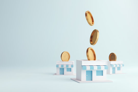 Coin in stores, Earning money with franchise business, 3d render.