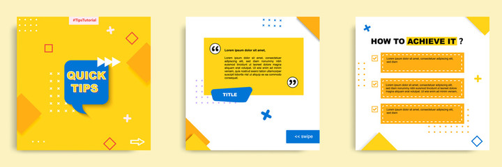 Fototapeta Social media tutorial, tips, trick, did you know post banner layout template with geometric background and memphis pattern design element