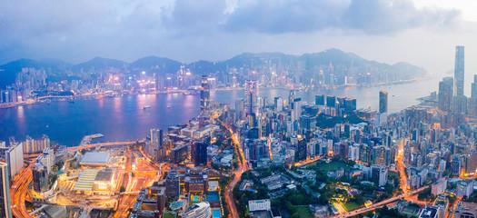 Wall Mural - Epic night view of Hong Kong, Kowloon aere, panorama