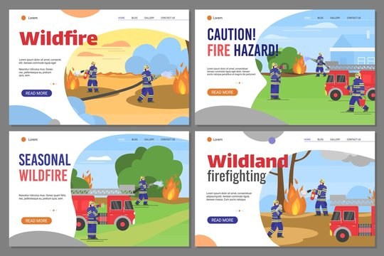 Firefighters extinguish a fire in the wildland. Fireman in uniform use water from hose for fire. A set of vector flat illustrations. Landing page template.