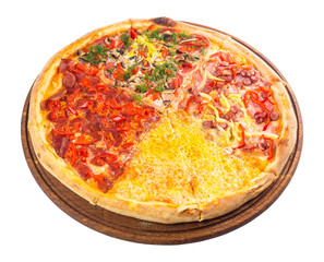 pizza with four different type of toppings. tasty quadruple italian family food on the round wooden board. isolated on the white background