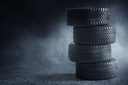 Car tires on the street