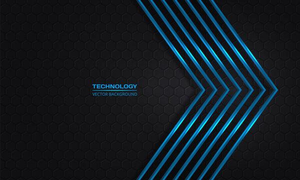 Blue arrows on a dark hexagonal abstract grid background. Futuristic modern blue metallic arrows and dark gray honeycomb backdrop. Luxury overlap direction design. Vector illustration EPS10.