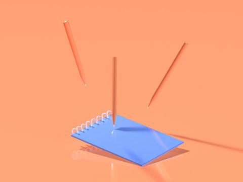 3d render. School pencils and blue empty notebook on pastel orange background. Minimal concept art. Surreal