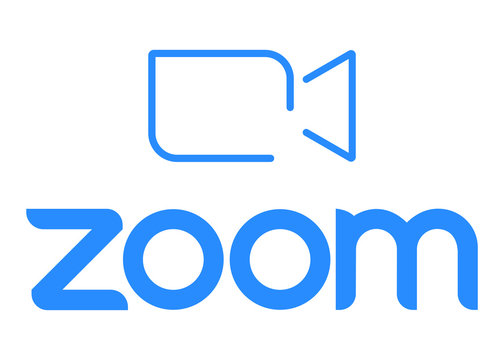 Zoom Video Communications. Zoom logo. Application for video communications with cloud platform for video and audio conferencing, chat and webinars. Blue camera icon. Kyiv, Ukraine - August 17, 2020