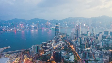Wall Mural - Timelapse of evening, Victoria Harbour, Hong Kong