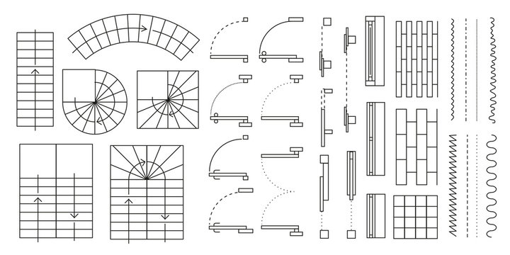 Vector set. Architectural elements for the floor plan. Top view.