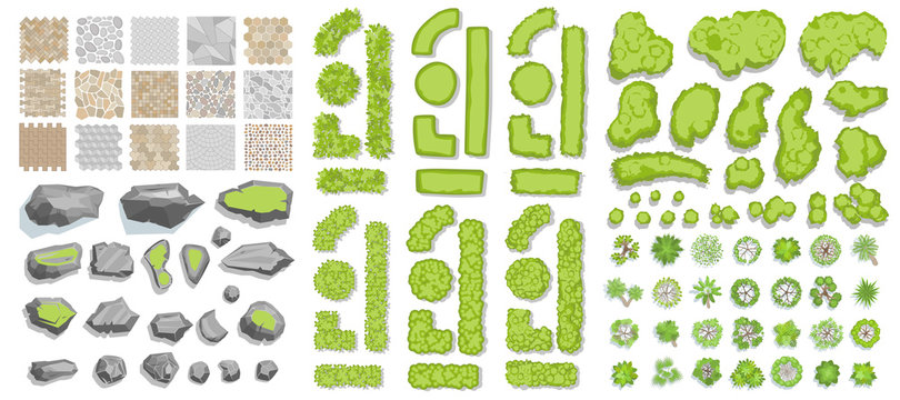 Set of park elements. (Top view) Collection for landscape design, plan, maps. (View from above) Paths, stones, green fences, bushes and trees.