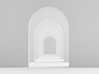 Obraz White acrhitecture arc rhythm background - 3d rendering - fototapety do salonu