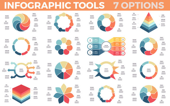 Business infographics. Diagrams, charts with 7 parts, options. Vector templates.