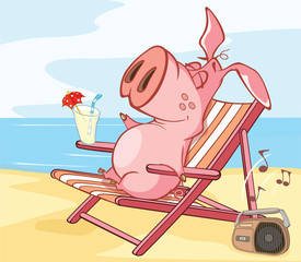 Vector Illustration of a Cute Cartoon Character Pig on Vacation