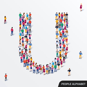 Large group of people in letter U form. Human alphabet.