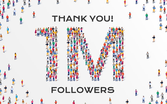 1M Followers. Group of business people are gathered together in the shape of one million sign, for web page, banner, presentation, social media, Crowd of little people. Teamwork. Vector illustration