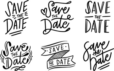 Save the Date handwritten inscription. Creative typography for wedding or love card design. Vector illustration.Handwritten modern brush calligraphy Save the date.