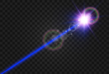 Bright beautiful laser beams on a transparent background. Scanner laser.