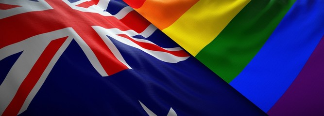 LGBT flag and flag of New Zealand
