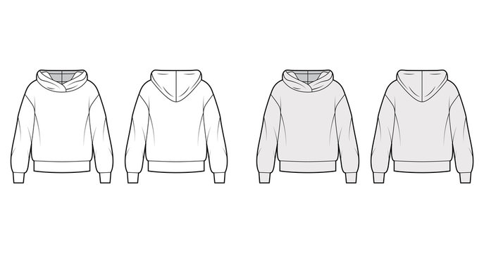 Oversized cotton-fleece hoodie technical fashion illustration with relaxed fit, long sleeves. Flat outwear jumper apparel template front, back, white, grey color. Women, men, unisex sweatshirt top CAD