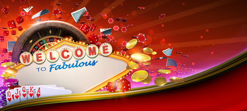 Casino games banner design with 3D rendered roulette wheel, falling playing cards, rolling red craps dices, poker gambling chips, golden coins and Las Vegas style casino neon sign