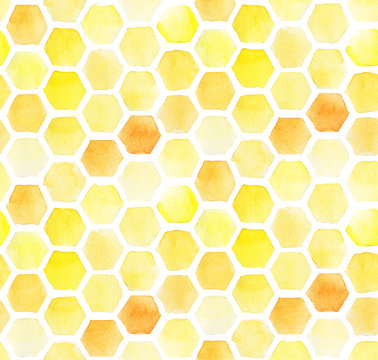 watercolor drawing, honeycomb seamless pattern. cute abstract background with yellow honeycombs isolated on white background. design for wallpaper, fabric, wrapping paper