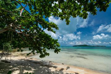 wood swing on beach in koh ta kiev island cambodia