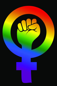 Vector of a raised fist. Feminist symbol with the color of the rainbow on a black background. LGBTQ