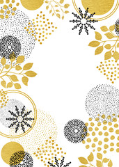 Creative abstract background with gold leaves and black floral design elements on modern border layout, blank for wedding or party invitations or other projects