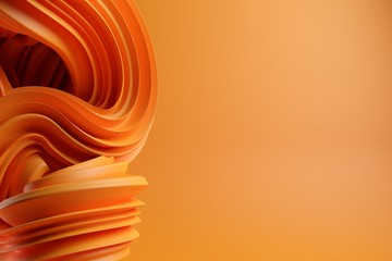 Foto auf Acrylglas Spirale Abstract modern dynamic orange flowing curve swirl or twirl spiral shape lines on orange background with copy space