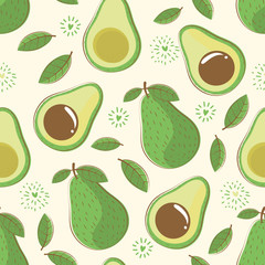 seamless pattern avocado with leaf
